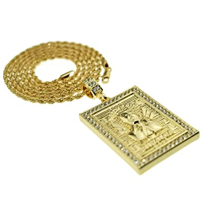 Amazon jesus malverde iced out square pendant hip hop chain 14k jesus malverde iced out square pendant hip hop chain 14k gold plated 30quot inch mozeypictures Image collections