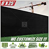 ColourTree 8′ x 25′ Black Fence Privacy Screen Windscreen, Commercial Grade 170 GSM Heavy Duty, We Make Custom Size For Sale