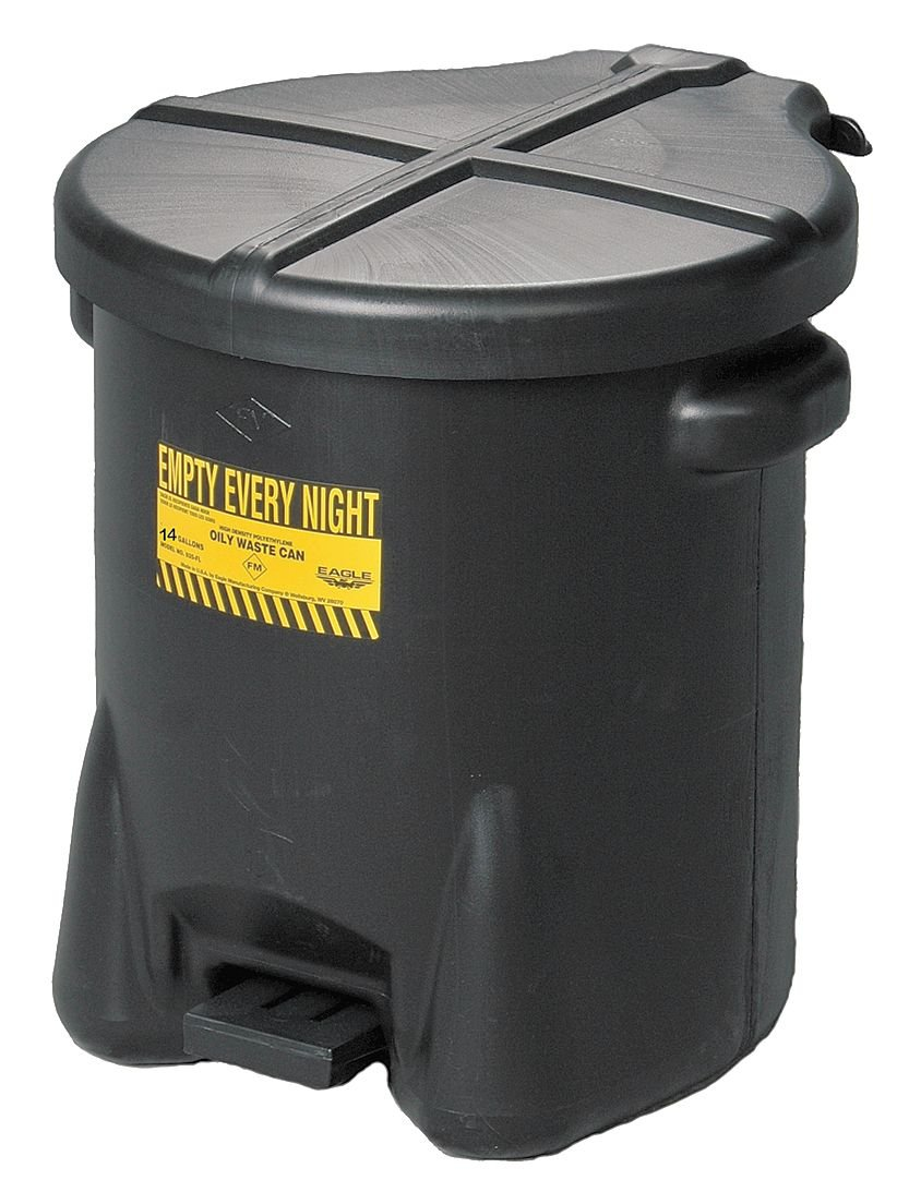 Oily Waste Can, 14 Gal, Polyethylene, Black by Eagle