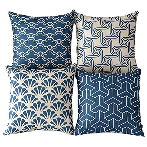 """WOMHOPE 4 Pcs - 17"""" Blue and Beige Vintage Style Cotton Linen Square Throw Pillow Case Decorative Cushion Cover Pillowcase Cushion Case for Sofa,Bed,Chair (Blue H 4 Pcs)"""