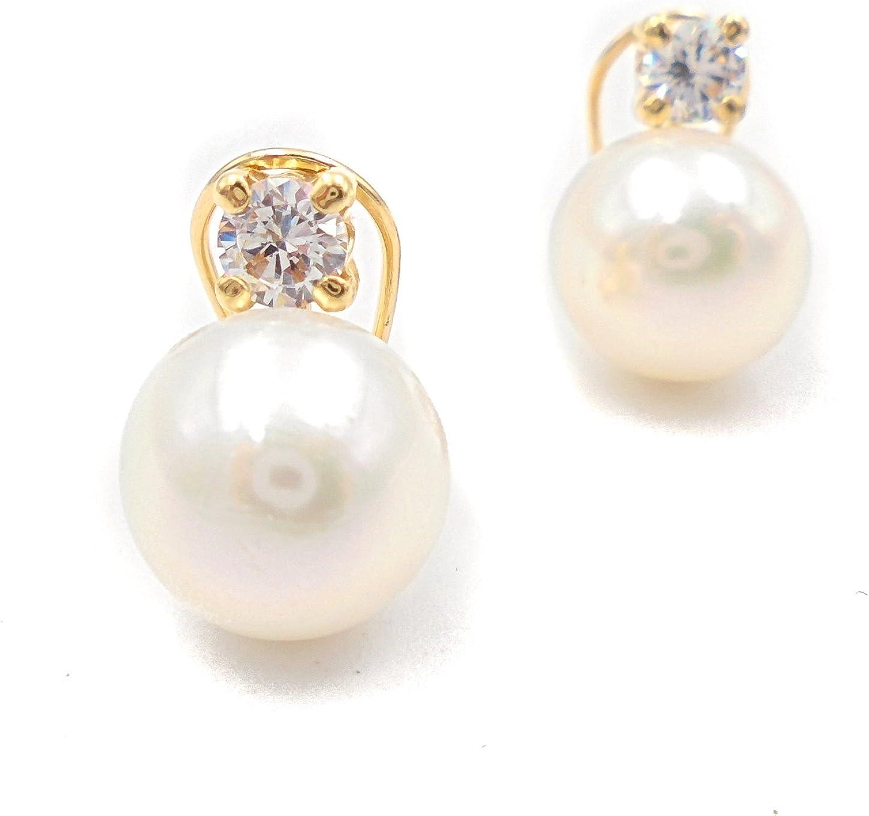 Pendientes oro 18 kilates mujer con perla cultivada y circonita 4 garras con cierre omega