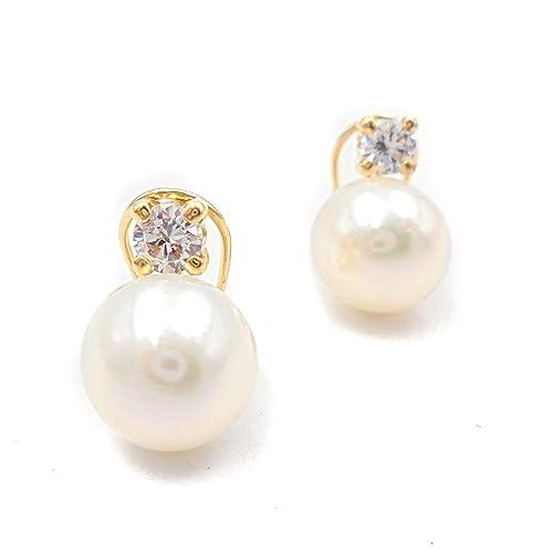 d110ebd047e1 Pendientes oro 18 kilates mujer con perla cultivada y circonita 4 garras  con cierre omega  Amazon.es  Joyería