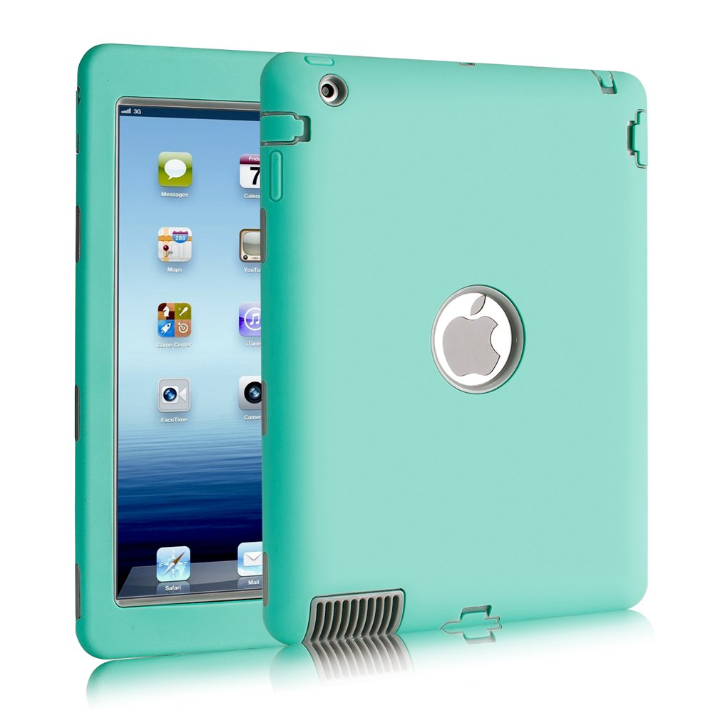 iPad 2/3/4 Case, SURBUID with Cell Phone Stand Heavy Duty Protection Shock Absorbing High Impact Silicone Rubber Bumper+Hard Plastic Shell Hybrid Dual Layer Armor Protective Case (Mint)