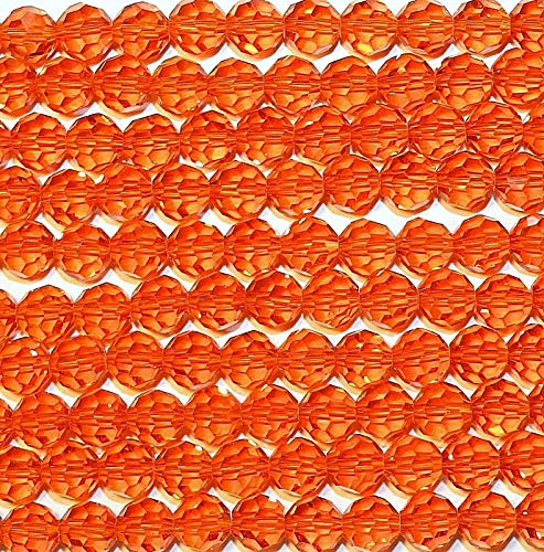 Orange 8mm Faceted Round Crystal Glass Beads 21#ID-2194