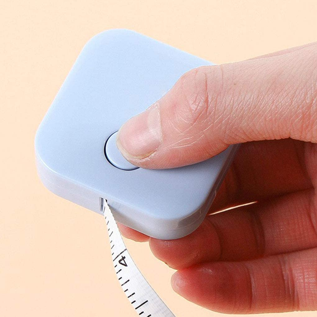 Double-Sided Measuring Tape Push Button Tailor Cloth Ruler Body Sewing Measuring Tool Blue