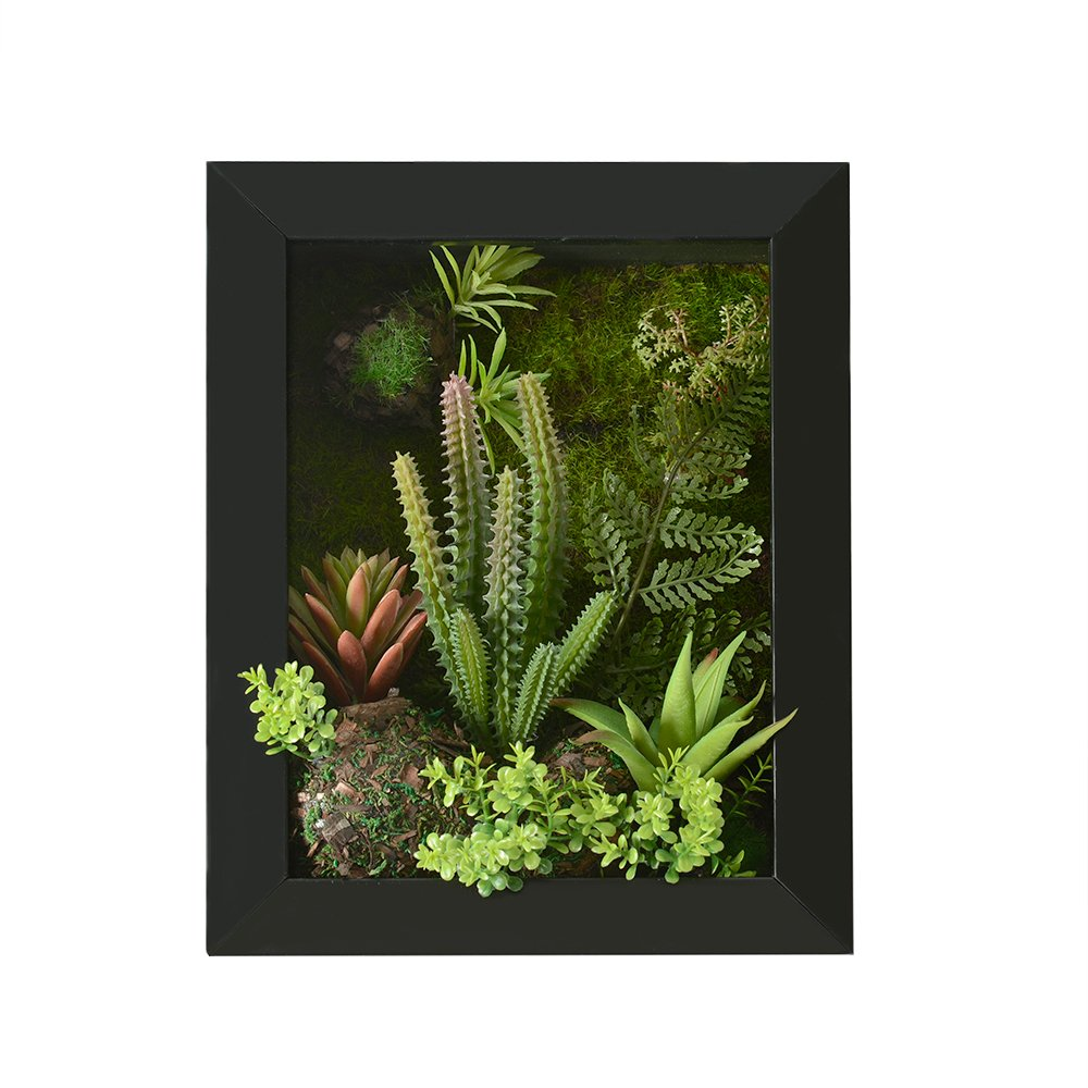 3D Artificial Flowers Wall Hanger Succulent Plants Grass Moss Stone with Imitation Wood Frame for Home/office Decoration, 7.87 in9.84 in (black)