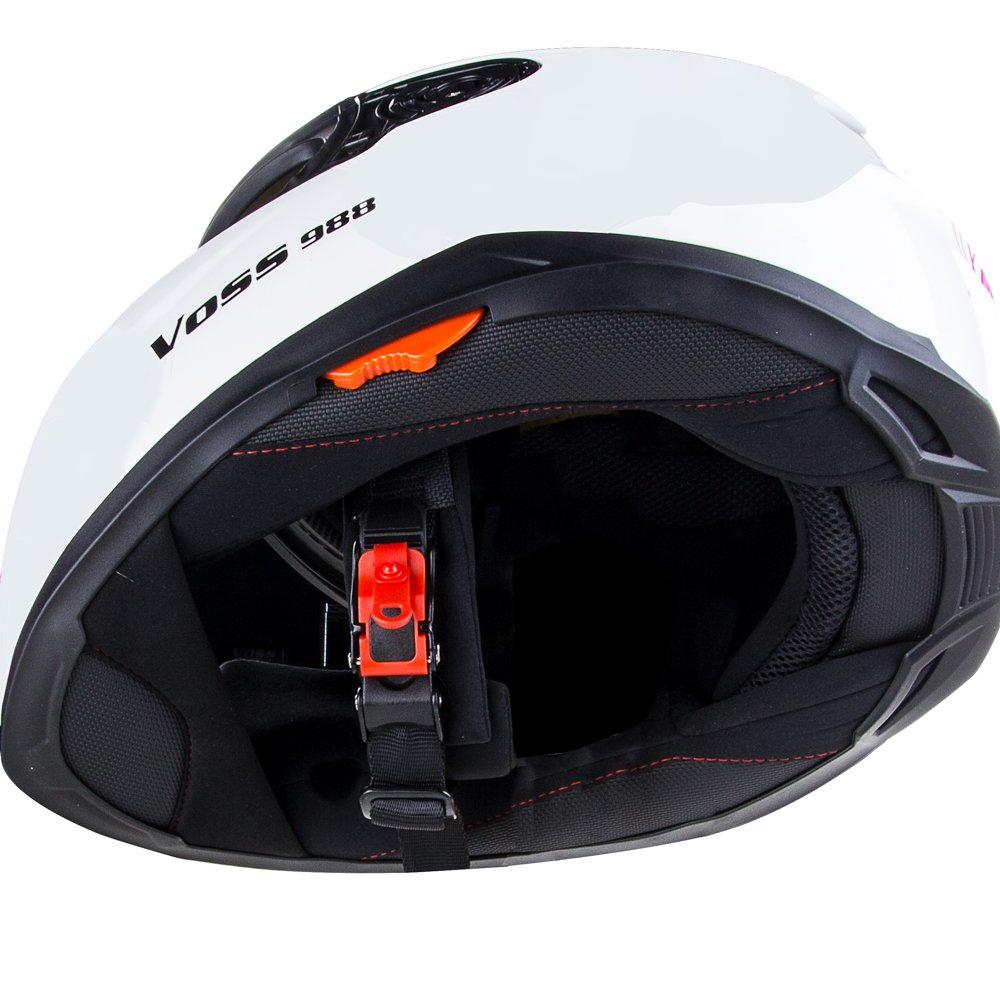 Amazon.com: Voss 988 Moto-1 Lily Graphic Street Full Face Helmet with Drop Down Internal Sun Lens - XL - White/Pink Lily: Automotive