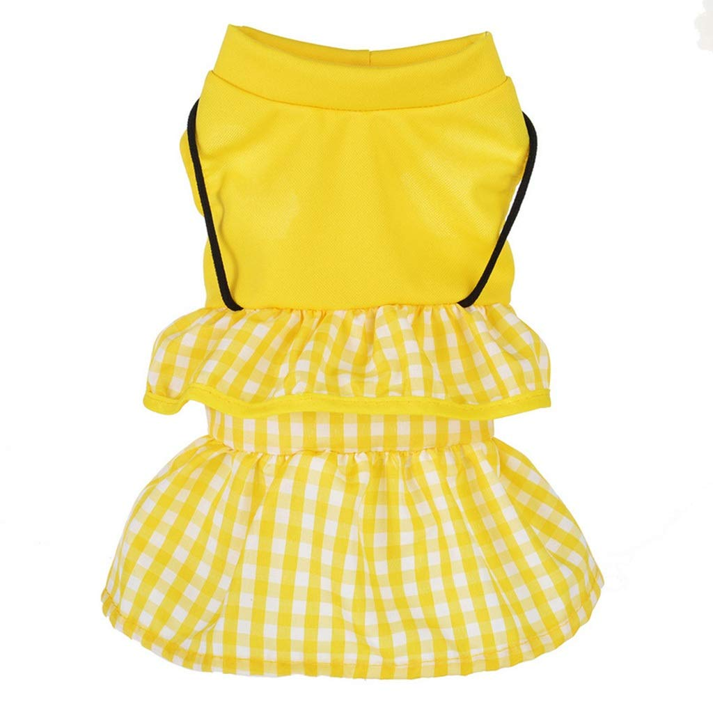 HXBLB New Puppy Dog   Clothes Spring Teddy cat pet Small Dog Than Bear net red Spring and Autumn Thin Tide Brand Summer Dress (Color : Yellow, Size : XL)