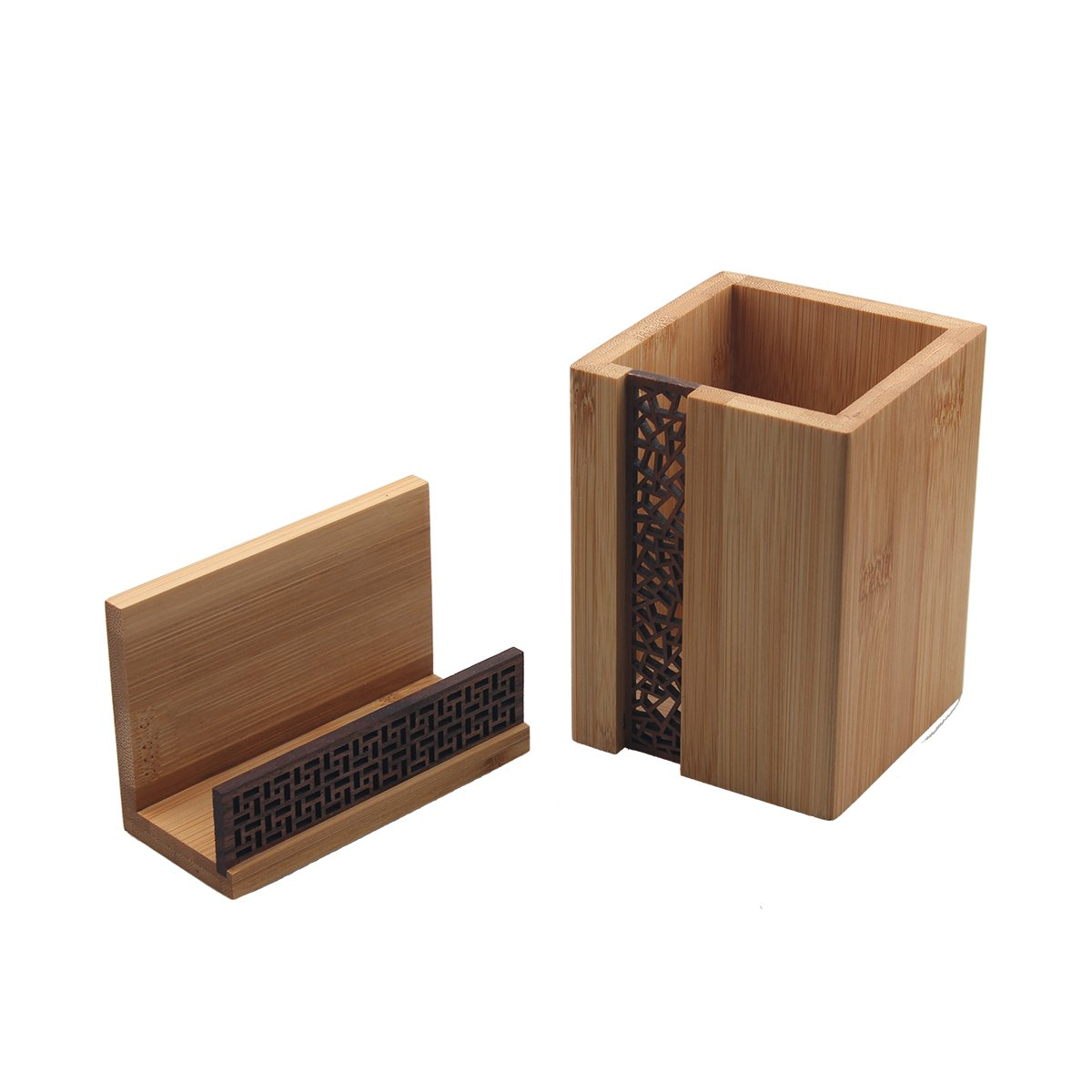 BangQiao Executive Bamboo Wooden Business Name Card Display Stand and Pencil Cup Holder for Desk,Home,and Office,Pack of 2