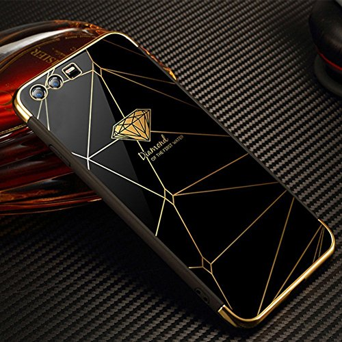 Funda Huawei Honor 9, EUWLY Huawei Honor 9 Carcasa Silicona Ultra Slim Plating Mirror TPU Cover Case Anti-Rasguño Anti-Golpes Protectora Bumper Case para Huawei Honor 9 Funda Elegante Pluma Diseño Sil Espejo Negro,Diamante