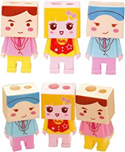 Pack de 6 creativo personaje de dibujos animados de doble agujero sacapuntas, papelería de oficina de escuela: Amazon.es: Hogar