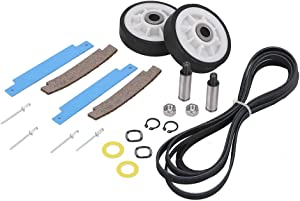 12001541 Dryer Drum Roller Kit & 306508 Dryer Drum Bearing Kit & WP33002535 Dryer Drum Belt Replacement for Maytag Crosley Dryer. Dryer Repair Kit Replace Part No. 303373, 306508VP, 33001777, 33002535