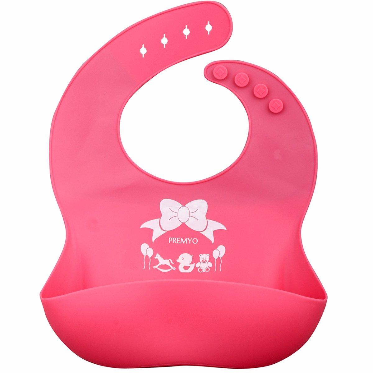 Weich Verstellbar Rosa Lila PREMYO 2er Set Baby L/ätzchen mit Auffangschale Abwaschbar Wasserdicht aus Silikon