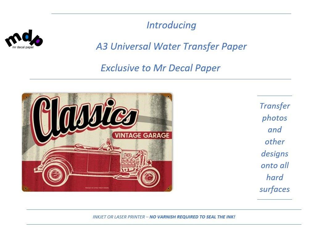 Universal A3 de inyección de tinta papel de transferencia de de transferencia agua | | láser | 5 A3 – No requiere Spray sellador f62370