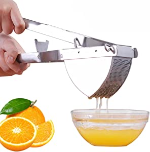 HTYX Traditional Stainless Steel Children's Juice Machine Healthy Juicer Using Cold Pressing Process Hand-Orange Juicer Kitchen or Dining Room