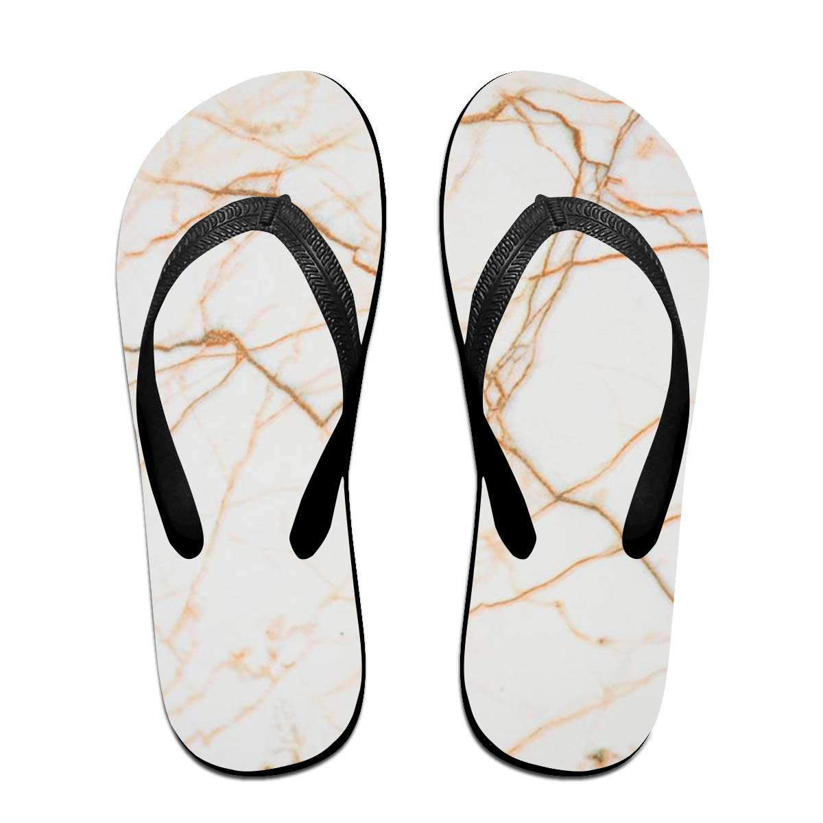 Happybeth White Yellow Wallpaper Print Lip Flops Summer Slippers Sandals Beach Casual and Sporty,Mens and Womens