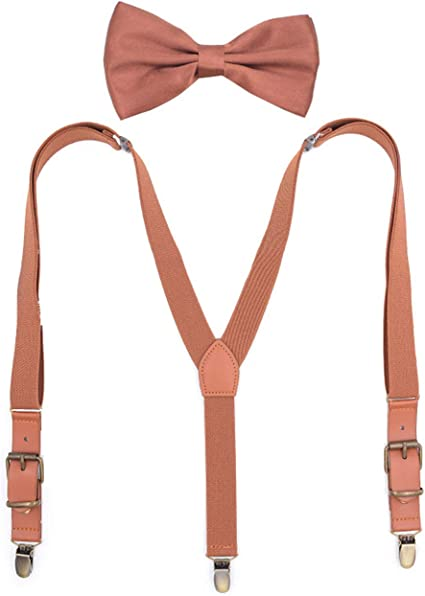 Bow Tie Brown Adjustable Leather Suspenders Big And Tall For Men Women Clips