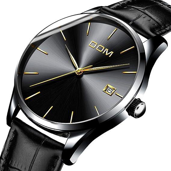 Reloj Hombres con indicador de fecha Acero Inoxidable Negro Clásico Cuarzo  Correa de cuero Reloj de pulsera  Amazon.es  Relojes 060b0d31f869