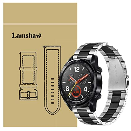 for Huawei Watch GT Band, Lamshaw Stainless Steel Metal Replacement Straps for Huawei Watch GT Smartwatch (Silver-Black)