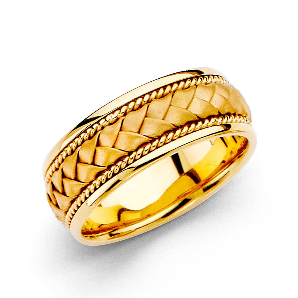 14k Yellow Gold Men's 8mm Braided Rope Handbraided COMFORT FIT Wedding Band - Size 9