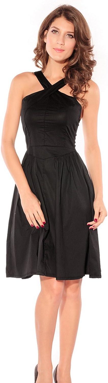Jtc Womens Backless One-Piece Lady Sleeveless Dress Black