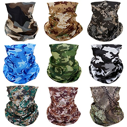GraceMe Headwear Bandana Multifunction Magic Motorcycle Outdoor Sport Seamless Colorful Skull Tube Half Face Mask Neck Cover Wrap Scarf 9PCS ()