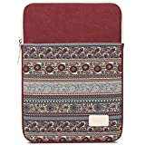 BLOOMSTAR 15 Inch Bohemian Canvas Protective Laptop Sleeve Bag Notebook Case Cover for MacBook, Chromebook, Acer, Dell, HP, Samsung, Sony (Vertical,Red)