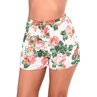 Womens Ladies Fashion Summer High Waist Floral Casual Beach Hot Pants Shorts USA