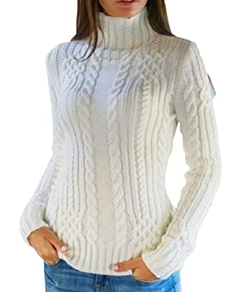 9cde0f2d0000 chenshijiu Womens Casual Knitted Slim Fit Winter Turtleneck Solid Color  Pullover Sweaters White S