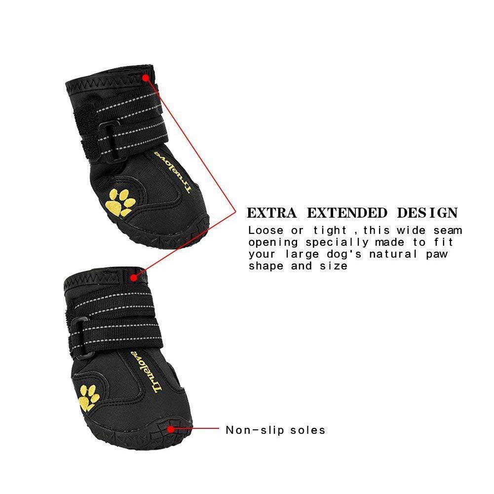 Dog Shoes Waterproof Anti-Slip Rain Boots with Reflective TLS3961 Black,7#