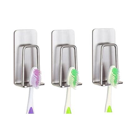 Portavasos Soporte para cepillo de dientes 3M auto-adhesivo acero inoxidable baño montaje en pared