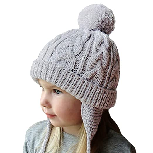 77a05bd62 Amandir Kids Winter Hats Fleece Lined Knit Toddler Girls Beanie Baby  Confetti Warm Pom Pom Cap