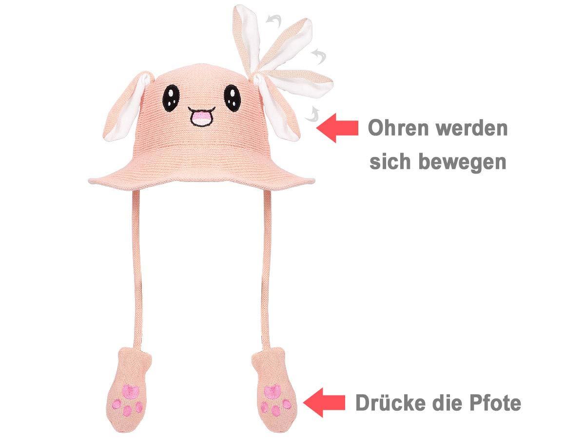 Divertente Cappello da Sole con Orecchie Mobili Animale Estivo Cappello con Orecchie che si muovono Grigio per Bambini e Adulti