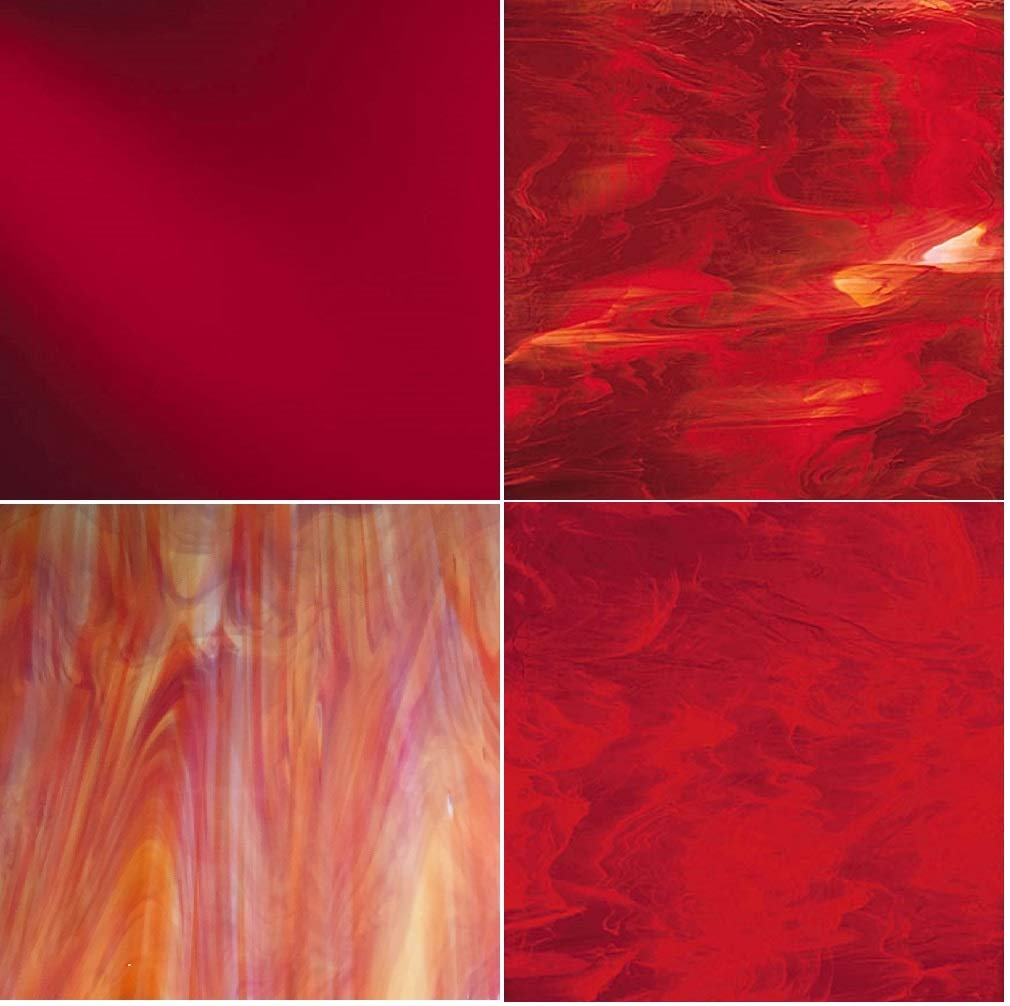 RED Variety Stained Glass Pack (4 sheets) by Sun and Moon Stained Glass (Image #1)