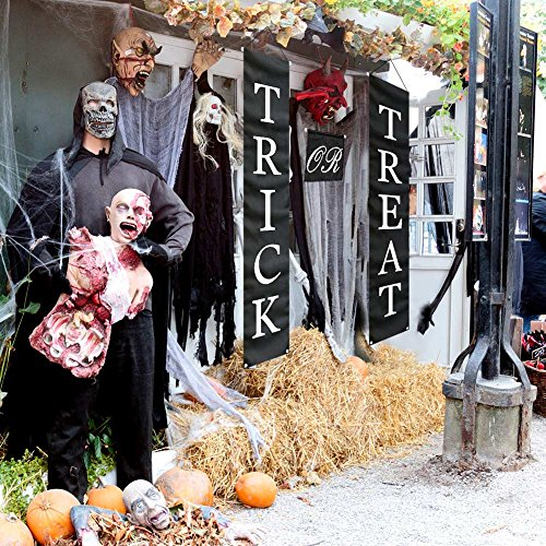 PartyTalk 3pcs Trick or Treat Halloween Banner Outdoor, Halloween Hanging Sign for Home Office Porch Front Door Halloween Decorations by PartyTalk (Image #6)