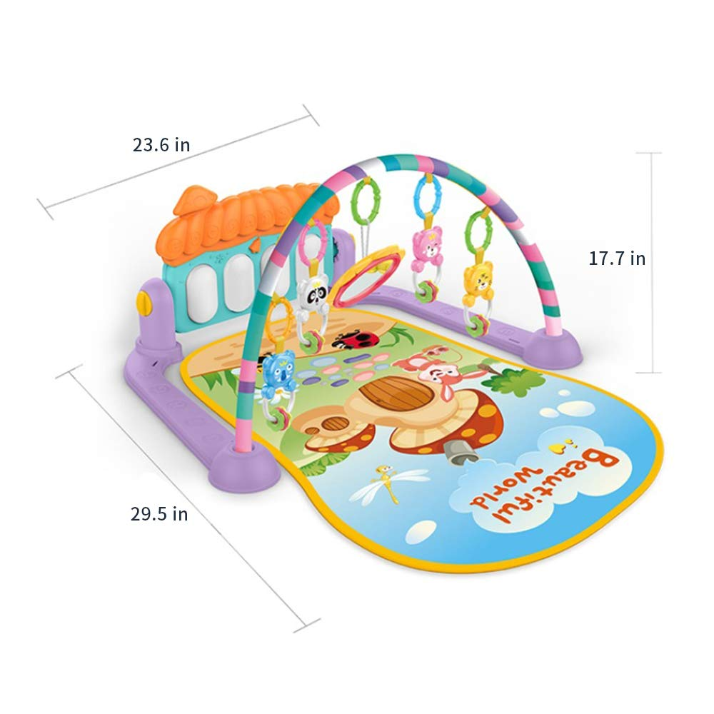 Festnight Baby Activity Gym Kick Game Blanket Play Piano Mat Crawling Mat Education Blanket Activity Fitness Toy Music Mat for Infant Toddler Boy Girl 0-36 Months