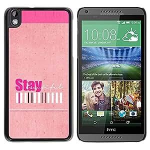 Paccase / SLIM PC / Aliminium Casa Carcasa Funda Case Cover - Peach Stay Positive Girls Barcode - HTC DESIRE 816