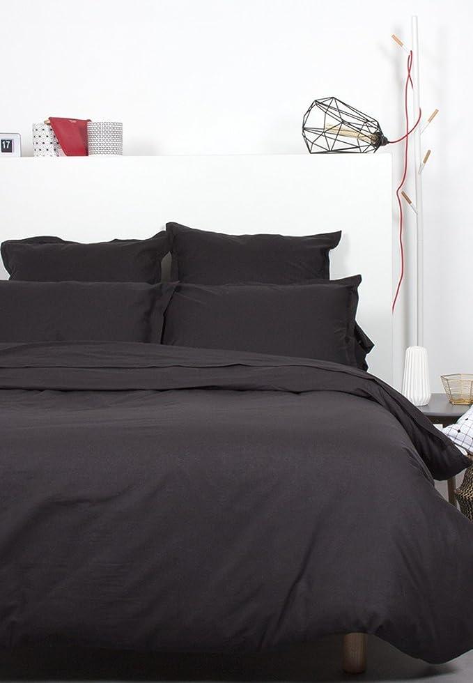 Comptoir Des Tisseurs - Drap Plat Uni Coton 270X300 Cm Noir