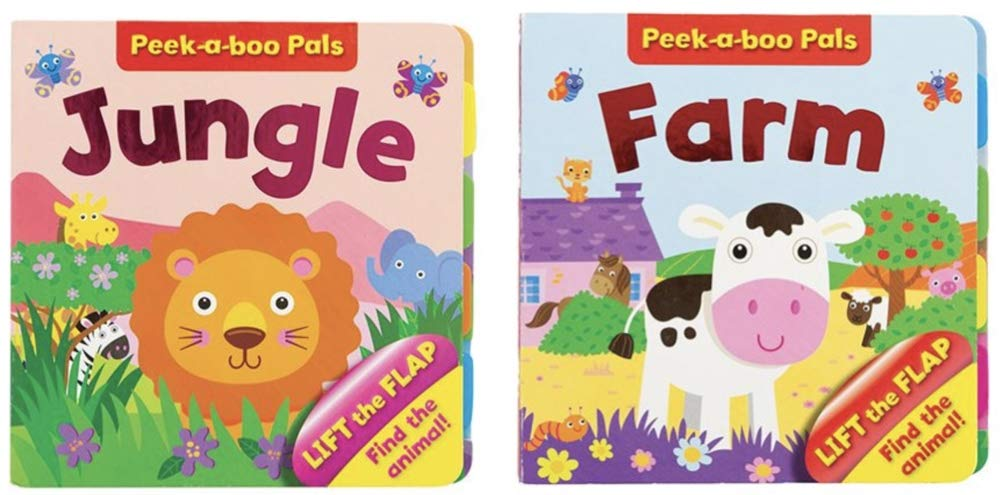 2 Books DG Shopping Spree Lift The Flap Board Book Jungle and Farm