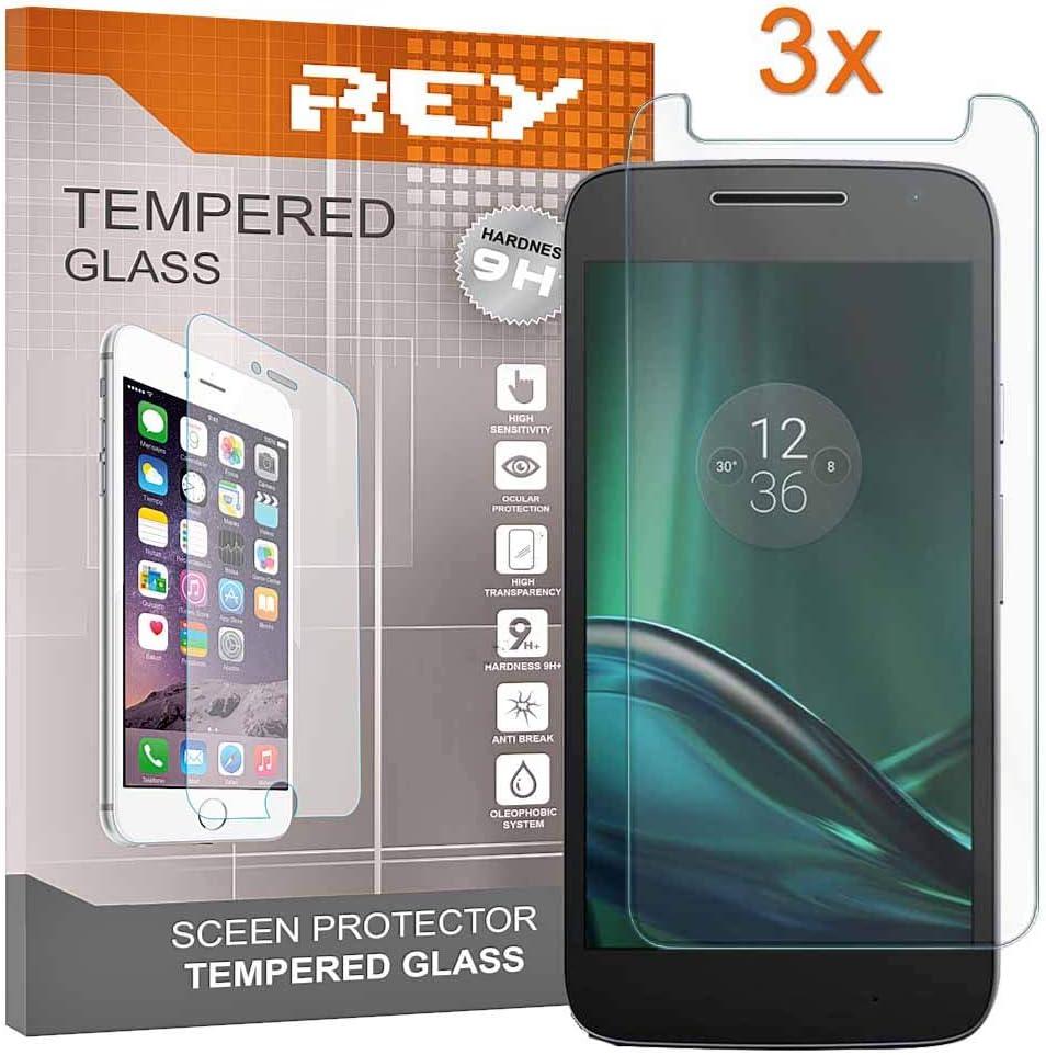 REY 3X Protector de Pantalla para Motorola Moto G4 Play, Cristal ...