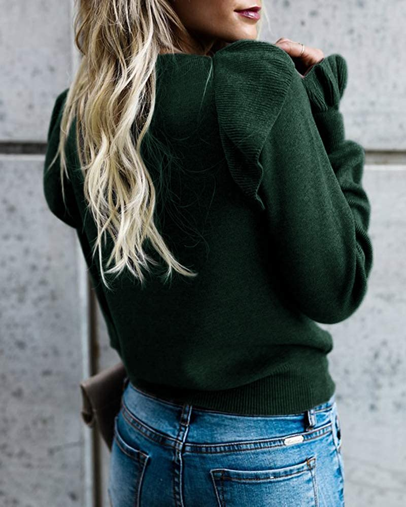 Imily Bela Womens Crew Rib Ruffle Front Puff Long Sleeve Blouse Sweater Crop T Shirts