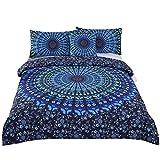 Sleepwish 4 Pcs Bohemian Moonlight Bedding Set Bohemia Blue Nice Gift Plain Twill Home Textiles Duvet Cover Set Cal-King Size
