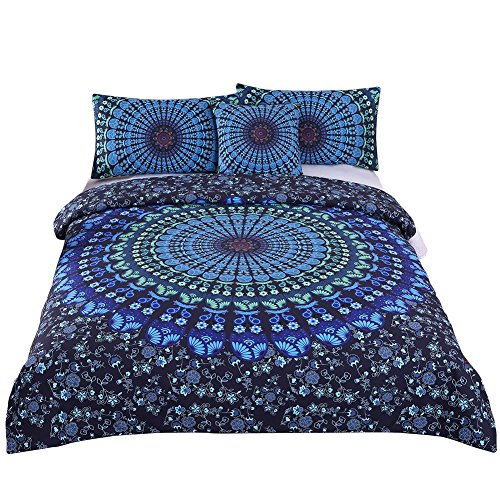 Sleepwish 4 Pcs Bohemian Moonlight Bedding Set Bohemia Blue Nice Gift Plain Twill Home Textiles Duvet Cover Set Cal-King Size (Cover Cotton Cushion Quilt)