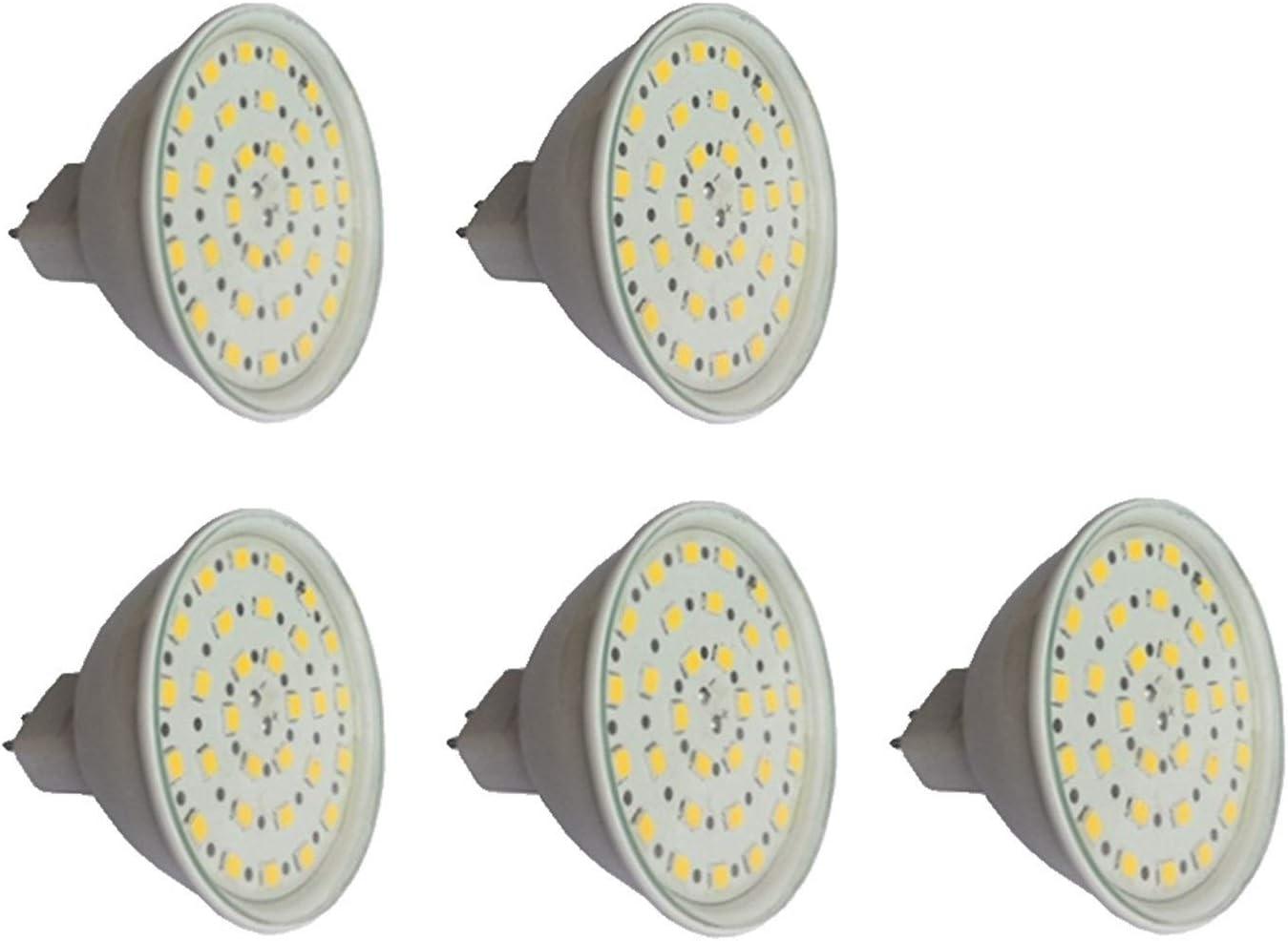 WELSUN MR16 LED Bombilla 24v, GU5.3 Bi-Pin Base, 6-Watt (50 vatios Equivalente), 450-500 Lumen, 24-40V Lámparas LED AC/DC Taza Blanca con Cubierta for el Glass [Clase energética A ++] 5-Pack