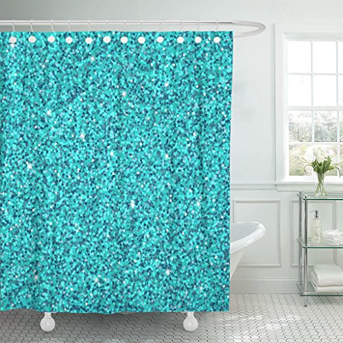 MAYTEC Shower Curtain Blue Gem with Shine and Spark Aquamarine Glitter Glamour Style for Your Party Holidays Xmas Wedding Waterproof Polyester Fabric 72 x 72 inches Set with Hooks Aqua Disco Dot