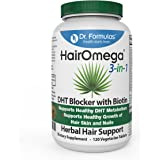 HairOmega 3-in-1 DHT Blocker with Biotin 5000 mcg, Skin Health Nail and Hair Growth Supplement | Hair Loss Vitamins, 30 Day Supply