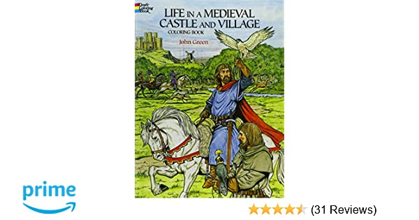 Medieval Coloring Pages For Adults : Life in a medieval castle and village coloring book dover history