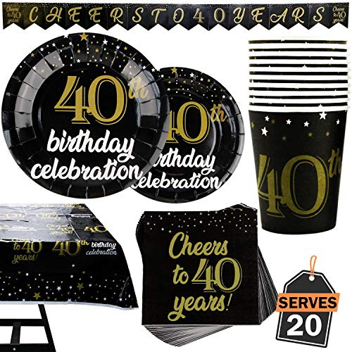 40th Birthday Tableware (82 Piece 40th Birthday Party Supplies Set Including Plates, Cups, Napkins,Banner and Tablecloth, Serves)