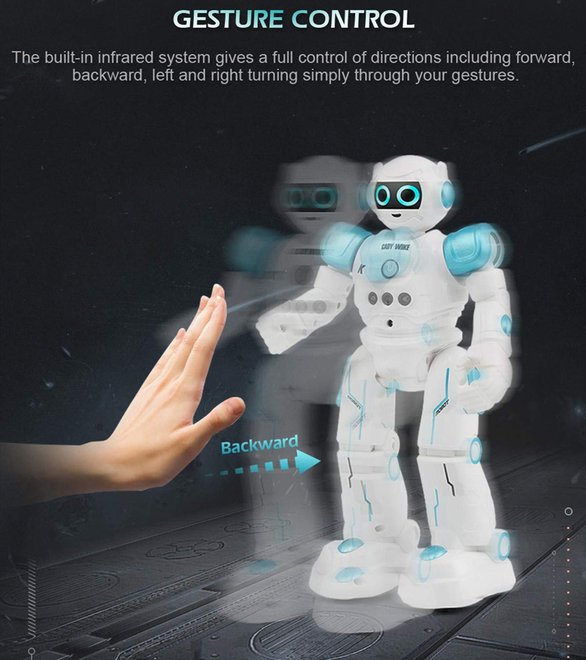 WEECOC Smart Robot Toys Gesture Control Remote Control Robot Kids Toys Birthday Can Singing Dancing Speaking Two Walking Models (Blue) by WEECOC (Image #6)