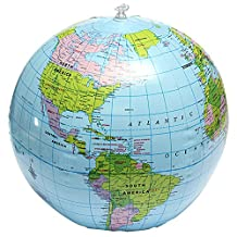 BleuMoo Inflatable World Globe Earth Map Geography Teacher Aid Ball Toy Gift 38cm